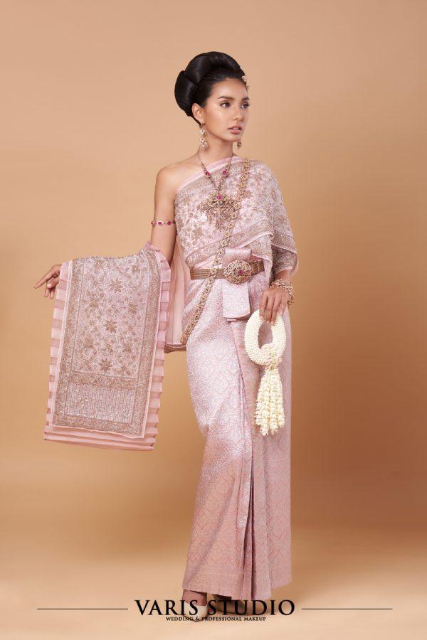 ชุดไทยจักรพรรดิ สีชมพูพิงค์โกลด์