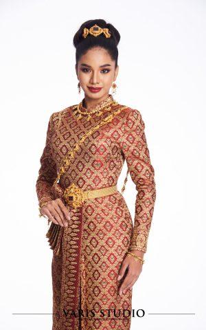 00076T ชุดไทยศิวาลัย สีแดง