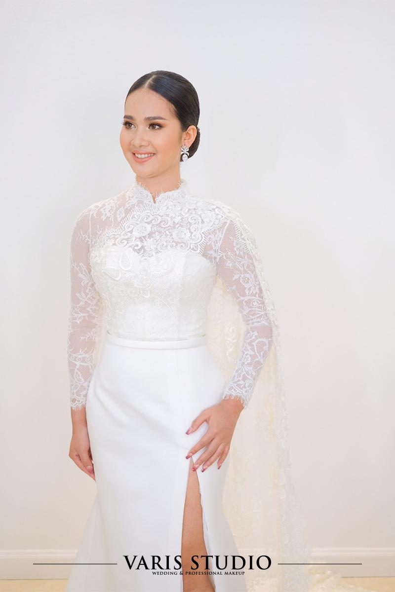 00010T ชุดแต่งงานไทยประยุกต์ สะไบผ้าลูกไม้ฝรั่งเศส สีขาว