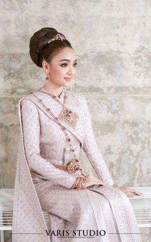 ชุดไทย สำหรับเช่า ชุดแต่งงาน ชุดไทยศิวาลัยสีพิงค์โกลด์ ปักเต็มตัว