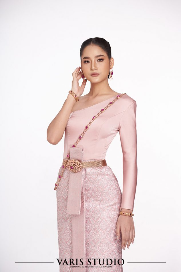 ชุดไทย สำหรับเช่า ชุดไทยประยุกต์ แขนเดียว ไม่ปัก สีชมพู