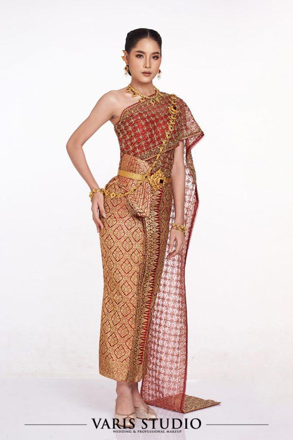 ชุดไทยจักรีสีแดง ดิ้นทอง สไบปัก