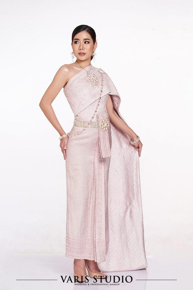 ชุดไทย สำหรับเช่า 00149T ชุดไทยจักรี สีชมพูนม ดิ้นเงิน สไบปัก