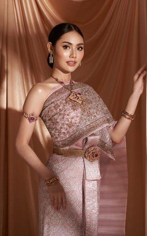 ชุดไทยจักรพรรดิ สีกะปิ ดิ้นเงิน ลายพุ่มข้าวบิณฑ์ สไบปัก