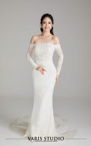 00066W ชุดแต่งงานสำหรับเช่า ชุดเจ้าสาว หางปลา แขนยาวปาดไหล่ ลูกไม้เต็มตัว