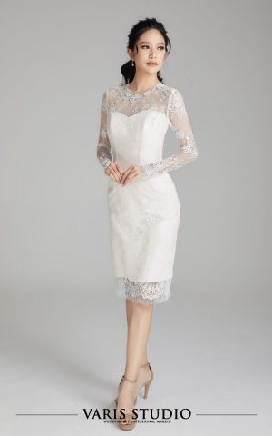 00072E ชุดหมั้นสำหรับเช่า ชุดพิธีหมั้น Dress สั้น ผ้าลูกไม้ฝรั่งเศส